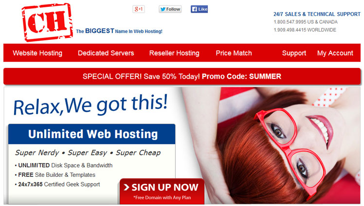 Certified Hosting homepage screenshot